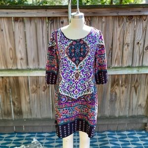 Boho Printed Dress & Pendant Earrings